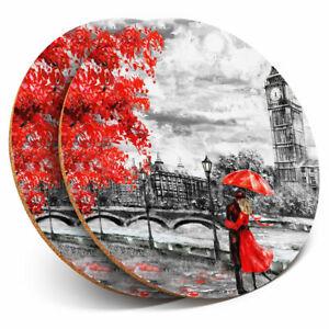 2 x Coasters - Romantic Couple London Big Ben Home Gift #21172