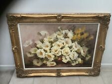 HAHN VIDAL OIL PAINTING OF PEONIES WITH BAROQUE WOOD GOLD FILIGREE FRAME