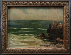 Small Canadian or American Impressionist Coast View Signed OLD Oil Painting NR