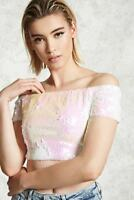 FOREVER 21 White Pink Off-the-Shoulder Sequin Top Small S