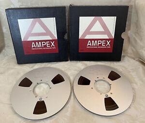 """2 x Vintage AMPEX 10.5"""" Metal Reels - with Tape - Boxed (Used)"""