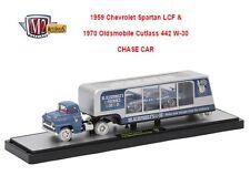 M2 MACHINES 1959 CHEVY SPARTAN LCF & 1970 OLDSMOBILE CUTLASS 442 W-30 CHASE CAR