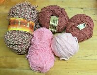 Lot 280g-Pinks Knitting Yarn-Tricolor Tweed-Dk-Aran-Cotton-Crafts-Vintage-New-C2