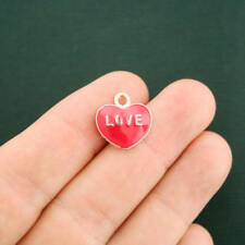 10 Love Heart Charms Gold Plated and Red Enamel Fun and Colorful - E266