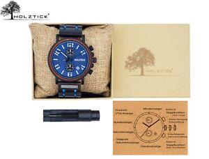 HOLZTICK® - Herrenuhr aus Holz und Edelstahl / Olivenholz / Armbanduhr Männer