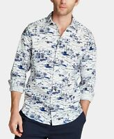 Nautica Mens Shirt White Size Large L Blue Sail Print Button Down $54 341
