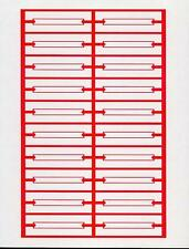240 Red White Blank Jukebox Title Strips 12 Pages Heavy Card Stock Perforated
