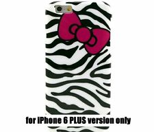 For iPhone 6+ / 6S+ Plus - TPU GUMMY RUBBER SKIN CASE COVER PINK BOW BLACK ZEBRA