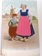 Appliqué Traditional Dutch Costume - Novelty Vintage Postcard