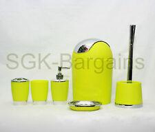 Lime Green 6pc Bathroom Accessory Set Tumbler Toilet Brush Lotion Soap Bin
