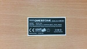 Gameboy Color Back Label Cartridge Replacement Label Sticker Precut