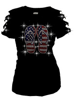 4th July USA Flag Flip Flop Bling Bling RHINESTONES T-SHIRT,RIPPED CUT OUT S~3XL