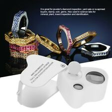 Mini Double Lens Portable Magnifier Diamond Gemstone LED Lights Jewelry Loupe