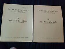 2 Programs Ny Ballet 1952 Jerome Robbins, Leonard Bernstein, etc. Paris Tour