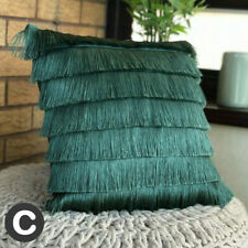 Luxury Layered Art Deco Fringed Flapper Petrol Teal Blue Filled Cushion 43cm