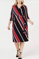 Inc International Concepts Women's Striped Faux-wrap Dress Plus Size 2x