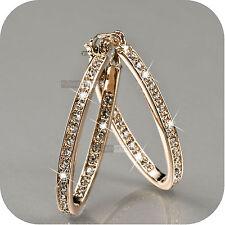 crystal hoop stud oval wedding earrings 18k rose gold gp made with Swarovski