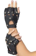 Smiffys Mens Ladies 80s 1980s 80's Punk Stud Gloves Leather Look Black New