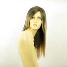 Perruque femme mi-longue Brun méché doré : HELOISE 1BT24B