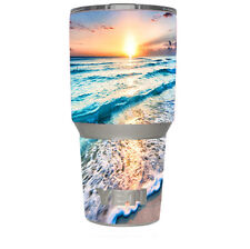 Skin Decal (6-piece kit) for Yeti 30 oz Rambler Tumbler Cup / sunset on beach