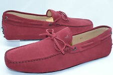 New Tod's Men's Red Shoes Driver Size 10.5 Loafers Suede Moccasin Loafers Sale