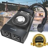 [ETL Listed] 24Hour Plug In Outdoor 2 Outlet Timer Weatherproof Automatic Switch