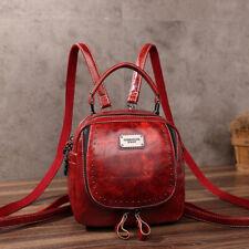 Oil Wax Leather Women's Fashion Small Backpack Mini Cute Shoulder Bag Rucksack
