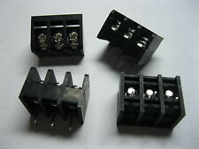 20 pcs Screw Terminal Block Connector 3 pin 6.35mm Barrier Type Black DC29B