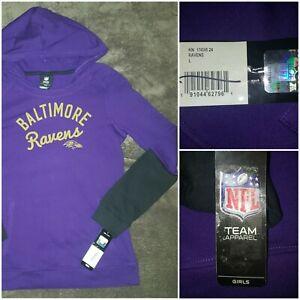 New Baltimore Ravens Youth Hoodie Size Large Girls Hooded Sweatshirt