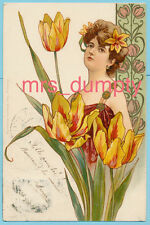Nouveau Lady with TULIPS~Early UN-Divided Back~Pub. by Streofer POSTCARD