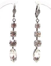 SoHo® Ohrringe Ohrhänger altsilber navette crystal geschliffene Strasssteine