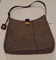 Vintage Polo Ralph Lauren Tote Bag Houndstooth Brown Leather Accents Plaid 90's