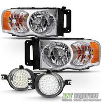 2002-2005 Dodge Ram 1500 Headlights Headlamps+Super White LED Fog Lights Lamps