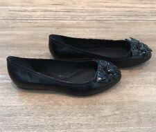 Pour La Victorie Janise Flats In Black Patent Leather Size 6