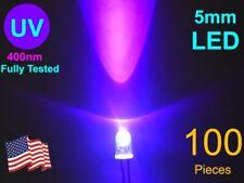 100 Pcs 5mm High Brightness UV LED Lot -Sorted 400 to 402.5nm
