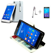 WHITE Wallet 4in1 Accessory Bundle Kit S TPU Case Cover For SONY XPERIA Z4