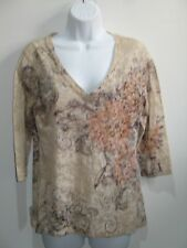 California Bloom Women's Size M (36) Brown Floral V-Neck Top See Thru 201-11941