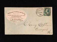 ME PORTLAND 1889 COVER #213 LOBSTER MERCHANT FANCY CC