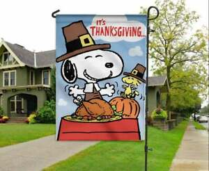 Snoopy Brown Happy Thanksgiving Flag