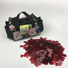Small Bingo Zipper Handle Pattern Bag w 670 Clear Red Vtg Bingo Chips Markers