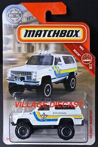 2019 Matchbox #53 '89 Chevy® Blazer™ 4x4 WHITE PEARL / MBX COUNTY SHERIFF / MOC