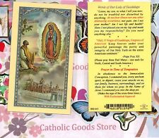 Our Lady of Guadalupe w/ St Juan Diego & words from Our Lady-Laminated Holy Card