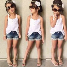 2pcs Kid Baby Girls Outfits Set Tank Top T-shirt +Jeans Pants Clothes 2-7Y 130&