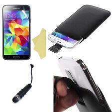 Pellicola + Pennino +Custodia Pull Tab SACCHETTO per Samsung Galaxy S5 Mini Nero