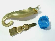 SMALL LOT BARRETTES BOBBY PINS STYLE FEATHER BUCKLE PLASTIC FLOWER CLAW