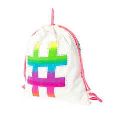 Neon Rainbow Aztec Print Crystal Outline Hashtag Reversible Drawstring Bag # NWT