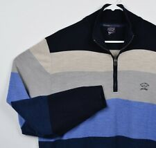 Paul & Shark Yachting Men's Sz 2XL 100% Wool Blue Striped 1/4 Zip Sweater HOLES