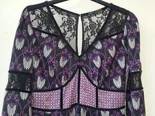 M&Co Midi Dress 12 Long Sleeve Vintage Lotus print lace zip LIMITED EDITION