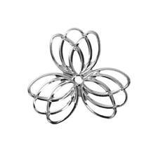 10 x Lotus Flower Bright Silver Filigree Pendants Stampings Beads 35mm