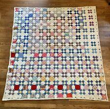 """Genuine Vtg Octagon Patchwork Quilt Handsewn Twin 67""""×73"""" Flour Sack Cotton"""